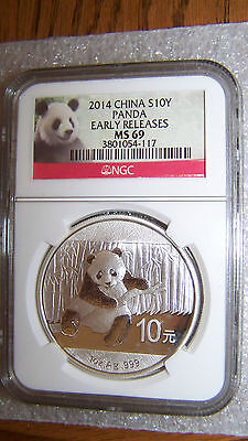 2014 1oz Silver China Panda 10Y NGC MS69 Early Releases old Panda Label