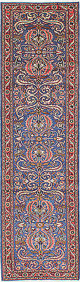 """Hand-knotted Persian Carpet 2'8"""" x 9'6"""" Lilihan Traditional Blue Wool Rug"""