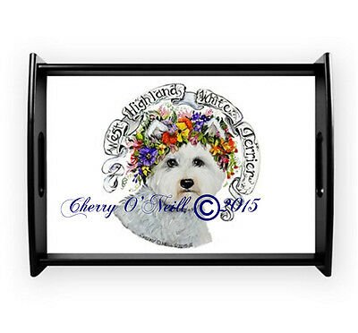 West Highland White Terrier Spring Serving Tray Westie Wooden Collectible