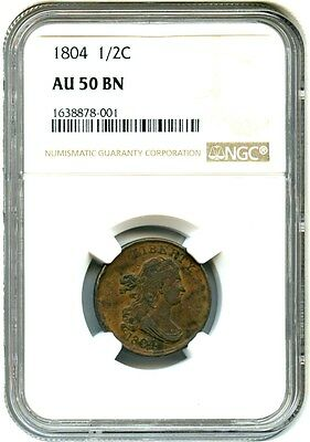 1804 1/2c NGC AU50 BN - Early Half Cent Type Coin - Half Cent