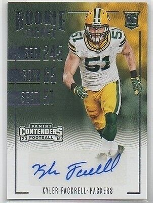Kyler Fackrell 2016 Contenders Rookie Ticket Auto Packers