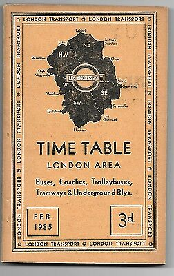 London Transport Central Bus Coach Trolleybus Tram etc Timetable  February 1935