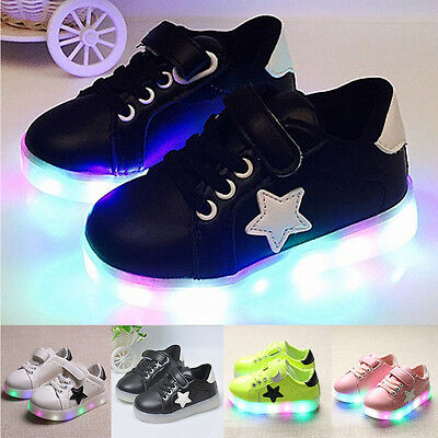 Niños LED Zapatillas Intermitente Luminoso De Luz Con luces De lazada formadores