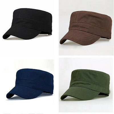 Men Classic Army Plain Hat Cadet Combat Army Military Baseball Summer Cap