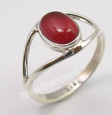 925 Pure Silver CABOCHON RED CARNELIAN UNISEX JEWELRY Ring Any Size PERSONALISED
