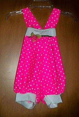 Cute Little Girls Hot Pink White Polka Dotted Dance Romper Costume Size Child S