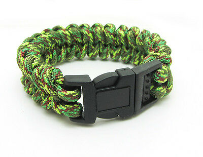 New Paracord Parachute Rope Bracelet Wristband Survival Hiking Mixed Green
