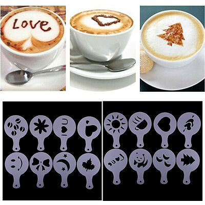 16Pcs/set Coffee Milk Cake Cupcake Plastic Stencil Template Mold Decoration Tool
