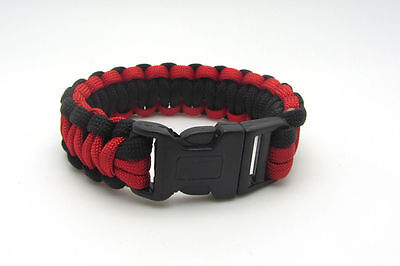 Hot Paracord Parachute Rope Bracelet Wristband Survival Hiking Black+Red
