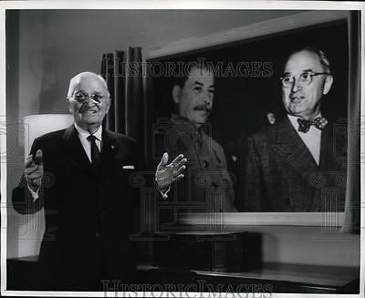 1964 Press Photo President Harry S Truman Discusses Potsdam Meeting with Stalin
