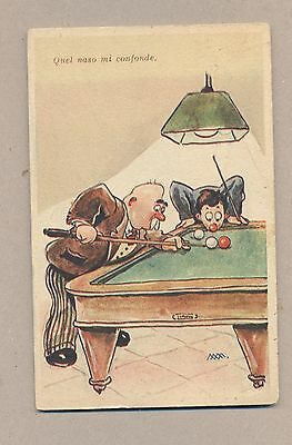 Italy 1950 Used Comic Post card.Billiards.See scan.