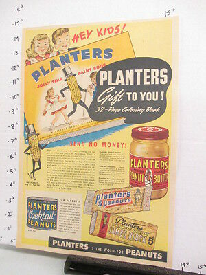 newspaper ad 1947 American Weekly PLANTERS peanut butter candy coloring book