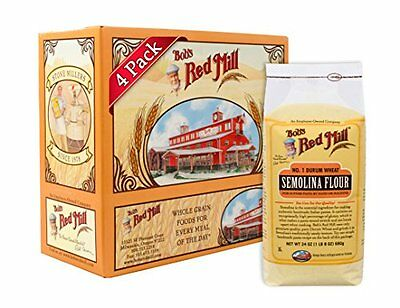 Pack Of 4 Bobs Red Mill Semolina Pasta Flour 24-Ounce For Home Bobs Red Mill New