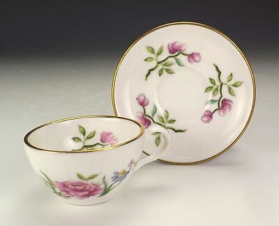 Spode Porcelain - Wild Flower Decorated Miniature Cabinet Cup & Saucer - Nice!