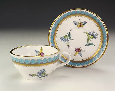 Spode Porcelain - Butterfly Decorated Miniature Cabinet Cup & Saucer - Nice!