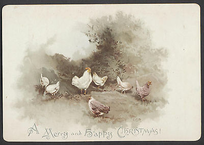 C413 Good Victorian Xmas Card: Chickens, FCP