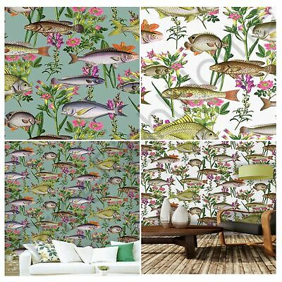Holden Lagoon Fish Wallpaper Feature Wall Decor - White Teal Midnight Blue
