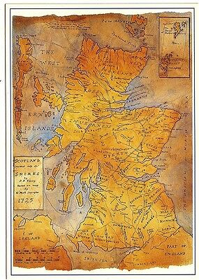 MAP OF SCOTLAND 1725 SHIRES Artwork DOUGLAS YOUNG Whiteholme POSTCARD 9166