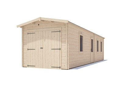 "Wooden Log Garage Trent Tandem W9' 10"" x D31' 0"" - Dunster House"