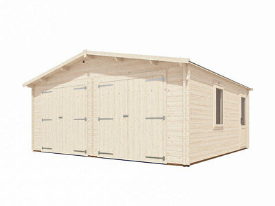 "Wooden Log Garage Deore W19' 4"" x D18' 0"" - Dunster House"