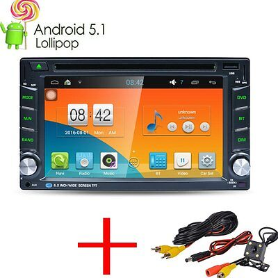 """6.2"""" 2 Din Android 5.1 Car GPS Player WiFi 3G Radio Stereo Sat Nav Bluetooth+Cam"""