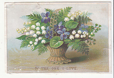 To The One I Love Basket of Flowers Ferns Embossed Valentine's  Vict Card c1880s