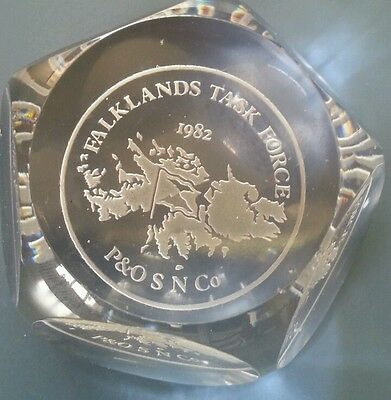 Royal Doulton Crystal Paperweight Webb Corbett Falklands Task Force 1982 P&O