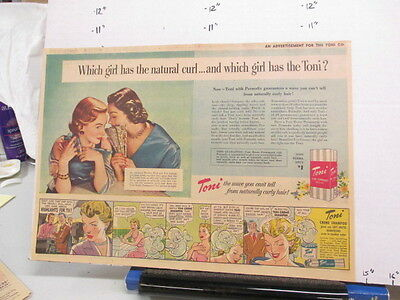 newspaper ad 1951 TONI home permanent wave hair shampoo Which Girl fan