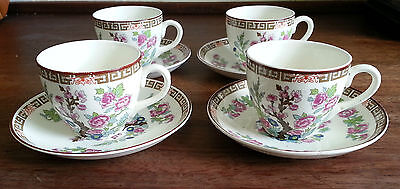 4 x 50s Victoria Pottery Fenton Coffee Duos. Chinoiserie Flower Pattern