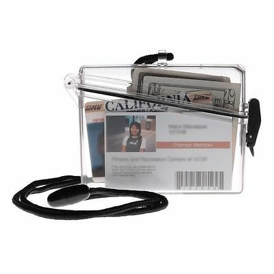WITZ ID LOCKER CLEAR WATERPROOF CASE ID BADGE TRAVEL HOLDER CASE with LANYARD