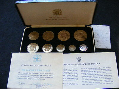 JAMAICA 1980 9 COIN PROOF SET INC. SILVER $10 (.925) & $5 (.500) 2688 Mintage