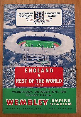 UNIQUE England v Rest Of The World (FIFA) 1963 Programme - Autographed by ROTW