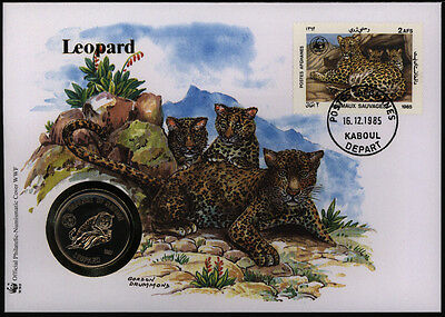 Numisbrief Afghanistan Leopard 1985 WWF mit Münze 50 Afghanes Tiere