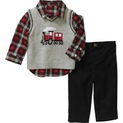 New George 0-3 Months Baby Boy Train Sweater Vest, Shirt & Pant Outfit Set