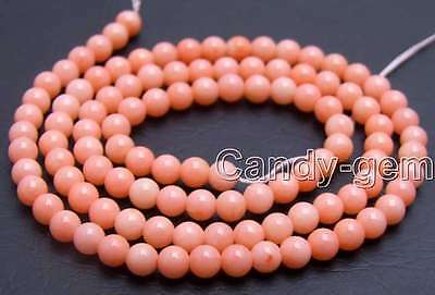 """SALE small 3mm Round Pink High Quality Natural Coral beads strand 15""""-lo413"""