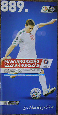 HUNGARY v NORTHERN IRELAND 2014 OFFICIAL MATCH PROGRAMME