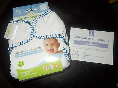 Bumgenius blue baseball w/ certificate of being real  new cloth diaper