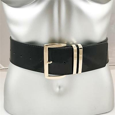 """New Womens Xl Plus Size Gold Buckle Wide Patent Leather 2"""" Fashion Belt Black"""