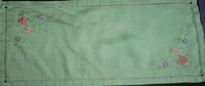 Vintage Green Linen Beautifully Embroidered Table Runner