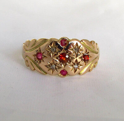 Old antique Edwardian 9ct gold diamond ruby garnet ring size O Chester 1903