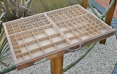 Vintage French Wooden Letterpress Printers Type Tray - Shabby Chic Display Lot 2