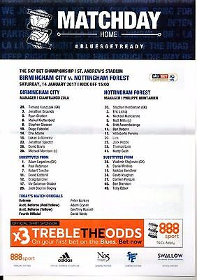 14.1.2017 BIRMINGHAM CITY v NOTTINGHAM FOREST, original colour TEAMSHEET!
