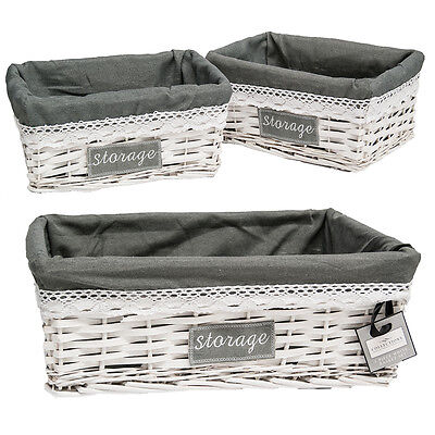 Vintage Rustic 3 Piece White Wicker Grey Lining Basket Hamper Storage Set NEW
