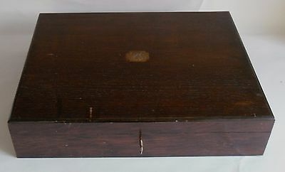 Vintage Wooden Cutlery Canteen Box with Key. Brass Plaque Initialled. Blue Baize