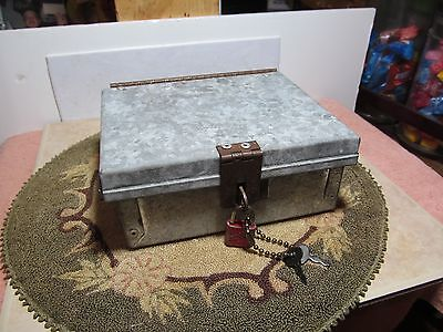 Pre-owned galvanized steel lock/strong box w/lock.