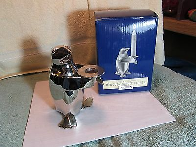 """5"""" tall Nickel Plated Penguin Candle Bearer/Holder by Restoration Hardware."""