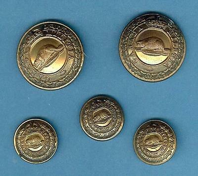 Nice Lot of Five Brass Canadian Army Militia/General Service Buttons, pre-WWI