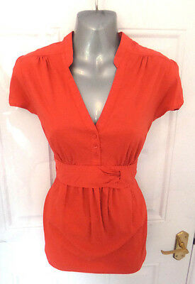 ❤ H&M MAMA Gorgeous Ladies Size 14 (M) Coral Red Stretchy Maternity Blouse Top