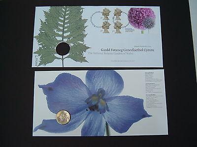 GB 2000 National Botanic Garden of Wales £1 coin / Stamp Royal Mint  PNC cover