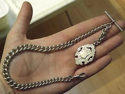 Good Antique Solid Silver Albert Watch Chain With Tee Bar, Clasp And Fob